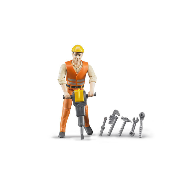 Bruder Bruder Bauarbeiter mit Zubehör 1:16