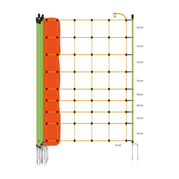 Euronetz Euronetz Ziegennetz/Ziegenzaun - 50 m / 105 cm Doppelspitze