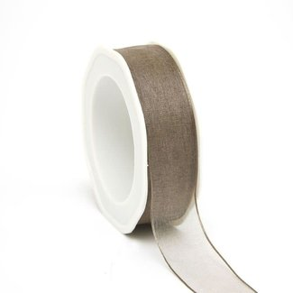 Wired Organza Woven Edge Taupe - 25mm x 20m