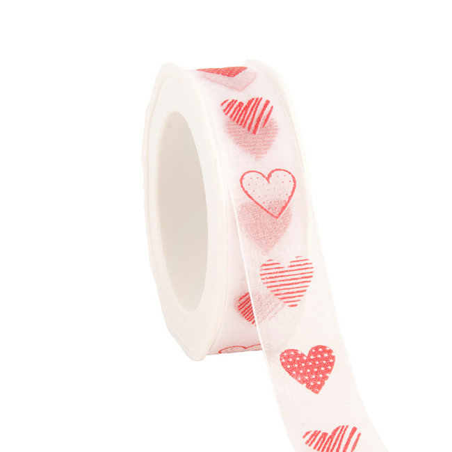 Organza Lovely Hearts Wit - 25mm x 20m