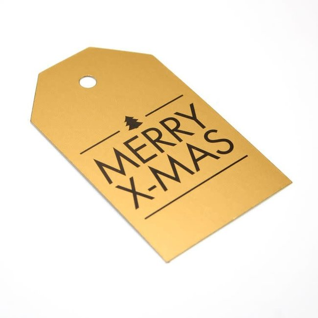Kadokaartjes Merry X-Mas Goud 100st - 6,8cm x 4cm