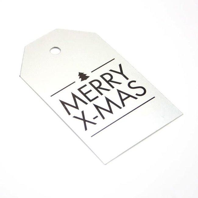 Kadokaartjes Merry X-Mas Zilver 100st - 6,8cm x 4cm