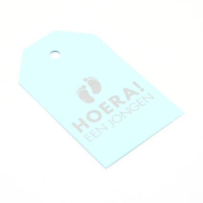Kadokaartjes Hoera Een Jongen Baby Blauw 100st - 6,8cm x 4cm