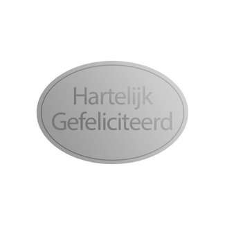 Stickers HG Ovaal Zilver 1000st - 38mm x 25mm