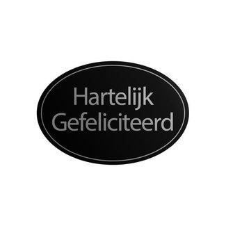 Stickers HG Ovaal Zwart 1000st - 38mm x 25mm