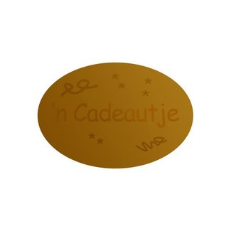 Stickers Cadeautje Ovaal Goud 1000st - 38mm x 25mm