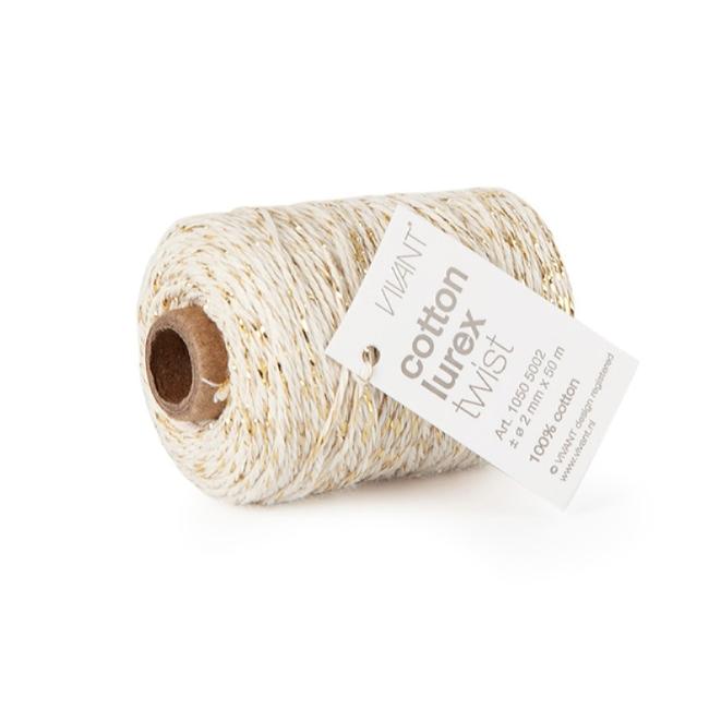 Cotton Lurex Twist Creme - 2mm x 50m