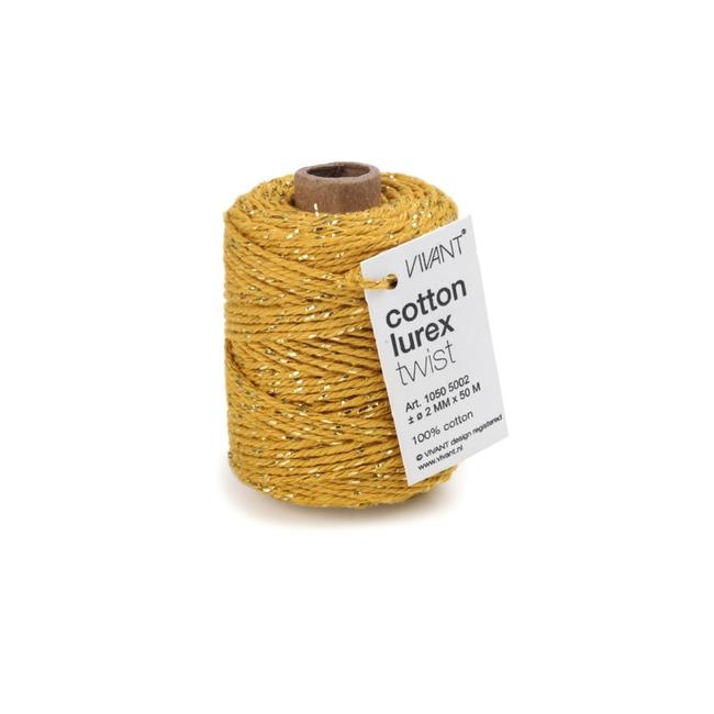 Cotton Lurex Twist Geel - 2mm x 50m