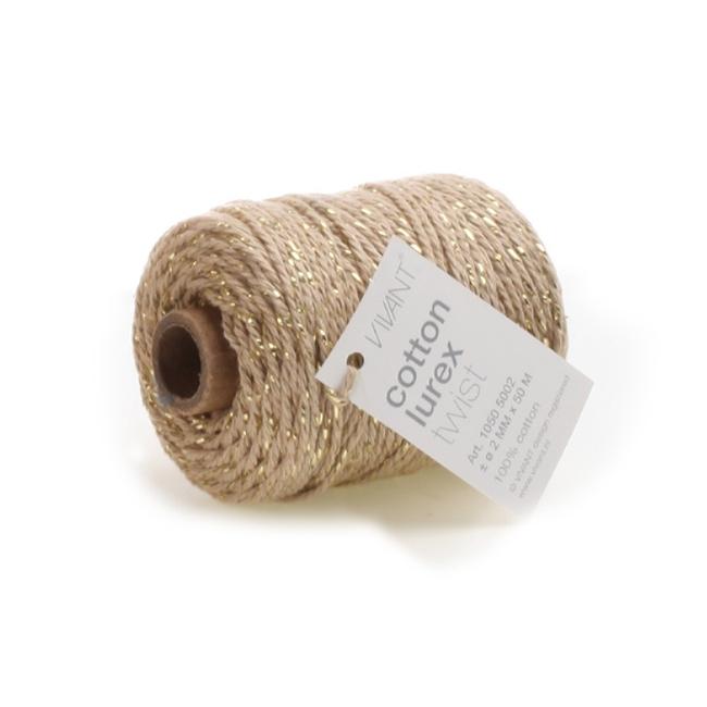 Cotton Lurex Twist Beige - 2mm x 50m