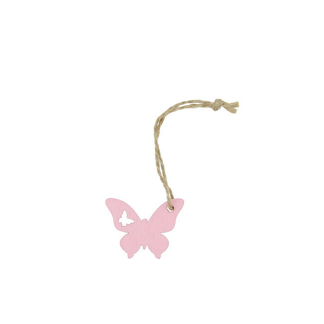Hanger Butterfly Roze 24st - 3cm x 3.8cm