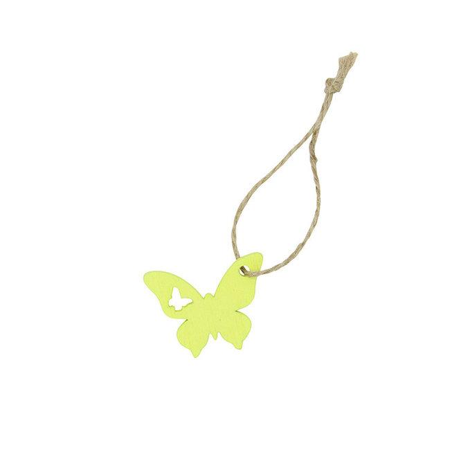 Hanger Butterfly Geel 24st - 3cm x 3.8cm
