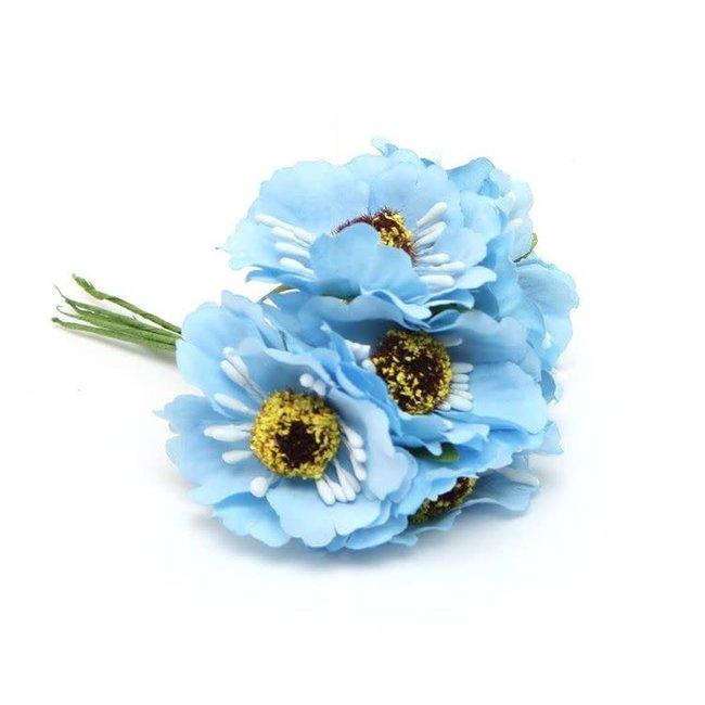 Flowers On Pick Blauw 60st - 45mm x 8.5cm