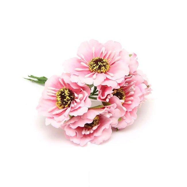 Flowers On Pick Roze 60st - 45mm x 8.5cm
