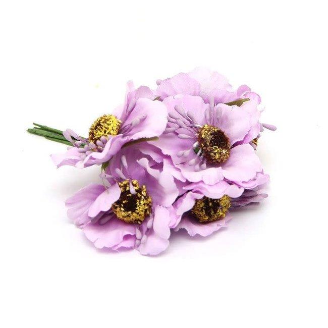 Flowers On Pick Lila 60st - 45mm x 8.5cm