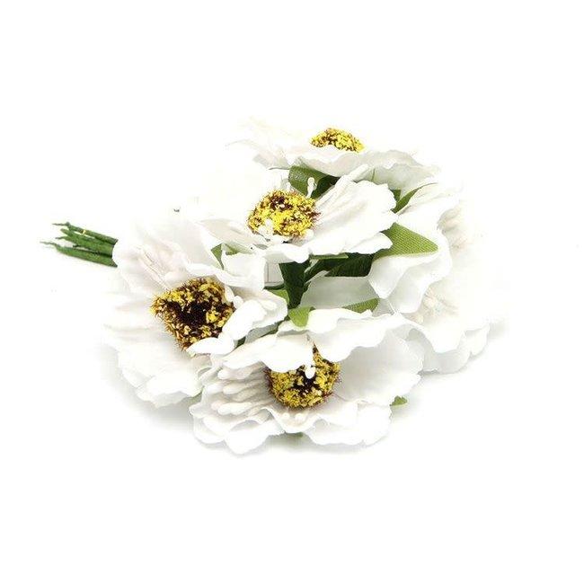 Flowers On Pick Wit 60st - 45mm x 8.5cm