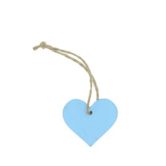Wooden Hanger Heart With Rope Lichtblauw 24st - 3,5cm x 4cm