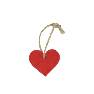 Wooden Hanger Heart With Rope Rood 24st -3,5cm x 4cm