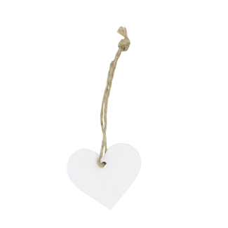 Wooden Hanger Heart With Rope Wit 24st - 3,5cm x 4cm