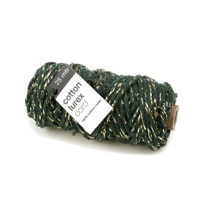 Cotton Lurex Groen/Goud - 4mm x 25mm