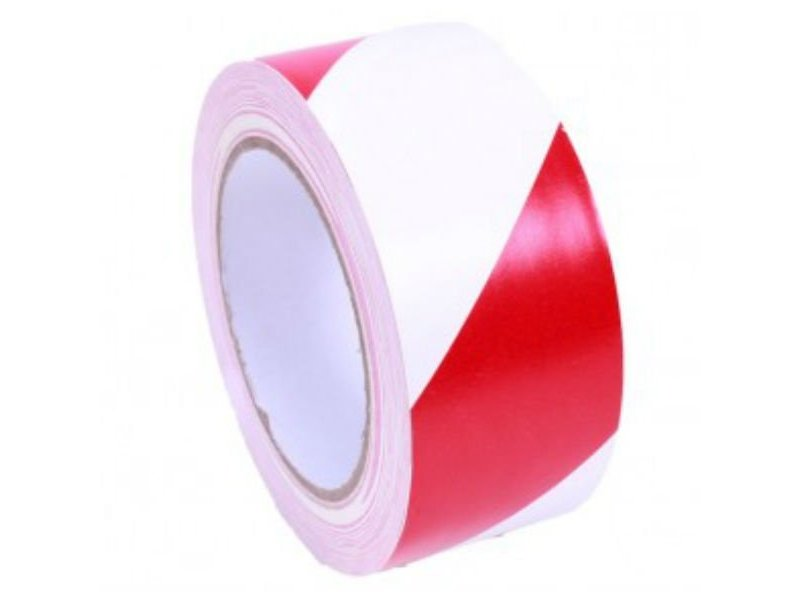 Makeringstape Rood - Wit 50 mm x 33 mtr