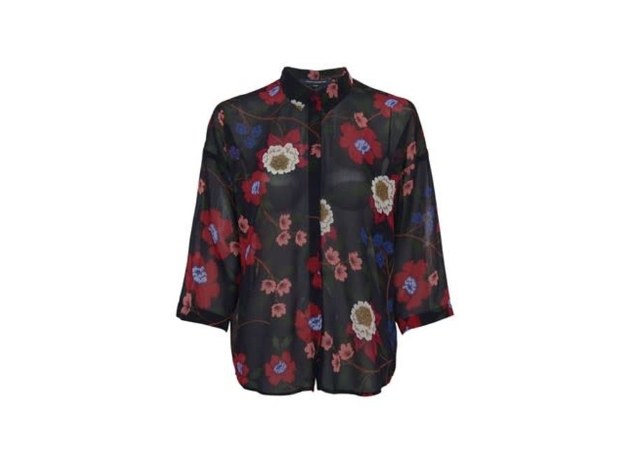 French Connection 383 Blouse Eloise Utility Blue Multi