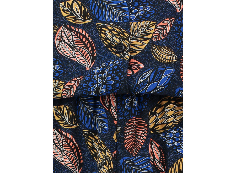 464 jurk Calina leaf donkerblauw print