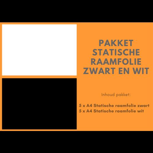 Pakket Statische raamfolie zwart en wit (A4 formaat)