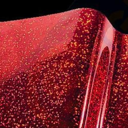 Vinylfolie Metal Flake holografisch Rood
