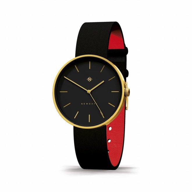 Horloge The Drumline goud en zwart leer