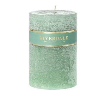Riverdale Kaars Pillar basic pastel groen 10x15cm