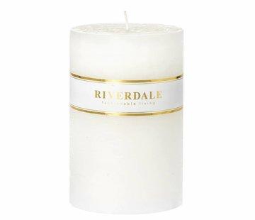Riverdale Kaars Pillar basic wit 10x15cm