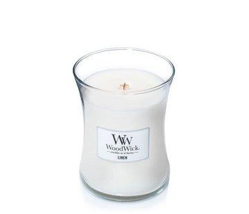 Woodwick Leinen mittlere Kerze