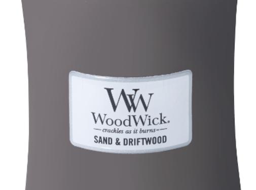 Woodwick Grande Bougie Sand & Bois Flotté