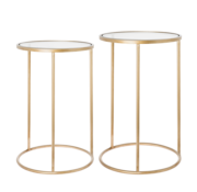 Riverdale Amaro side table round gold set