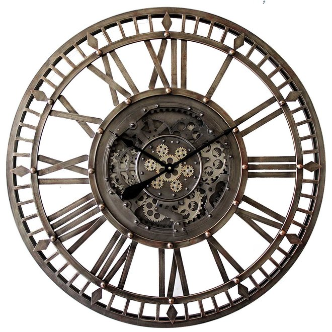 Large open Wall Clock Gears 90cm Old Bronze