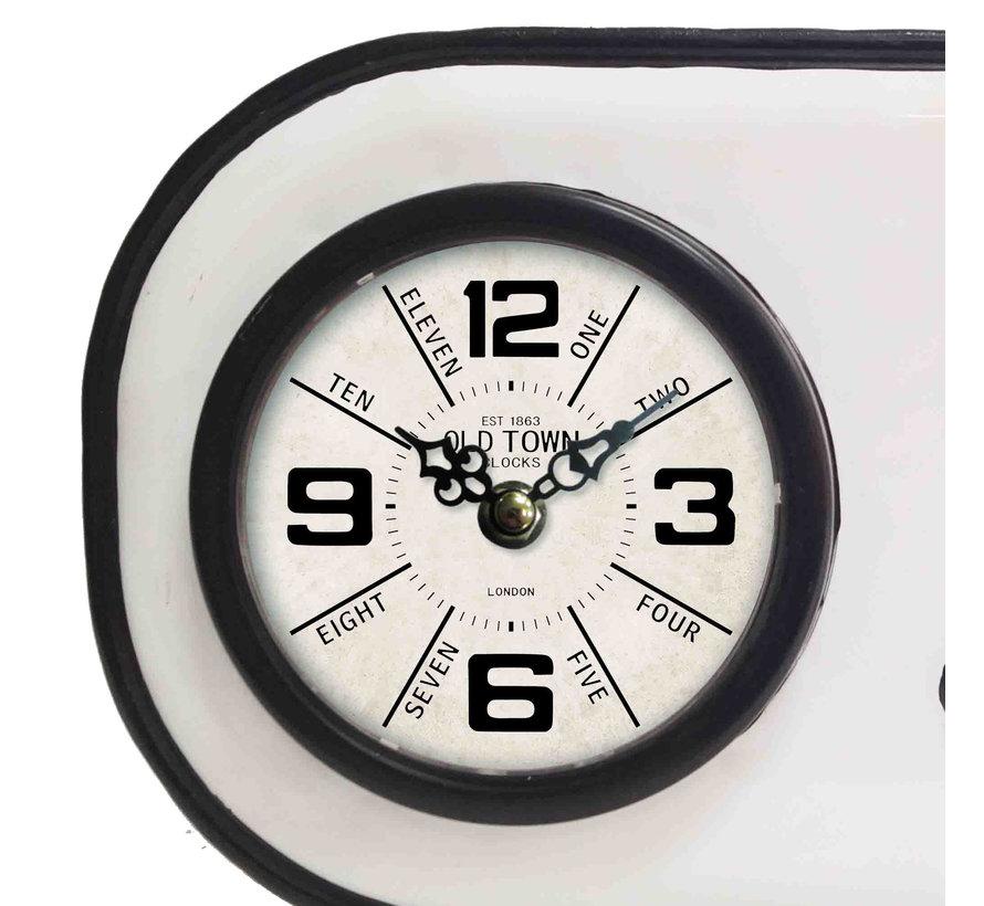 Vintage wit en zwart staande klok 25cm