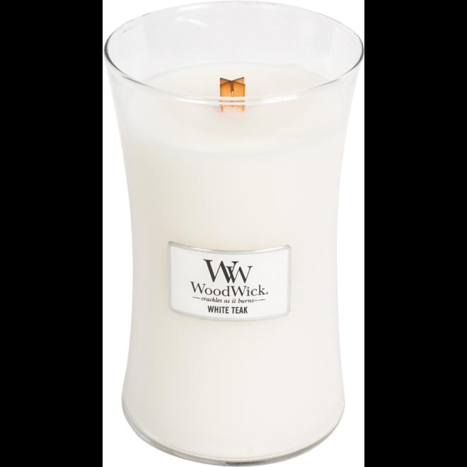 White Teak candle large