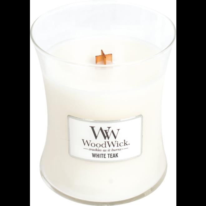 Weiße Teak Medium Kerze