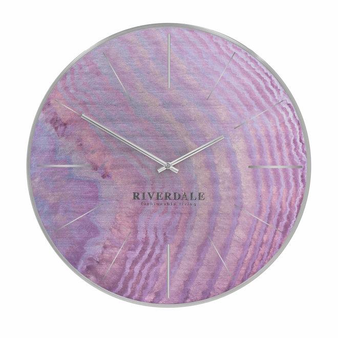Wandklok Brixton pink oil 50cm