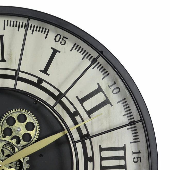 Wall clock Gear segments black 57cm