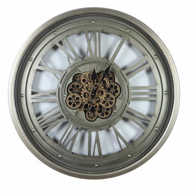 Wandklok Gears open Old Silver 80cm