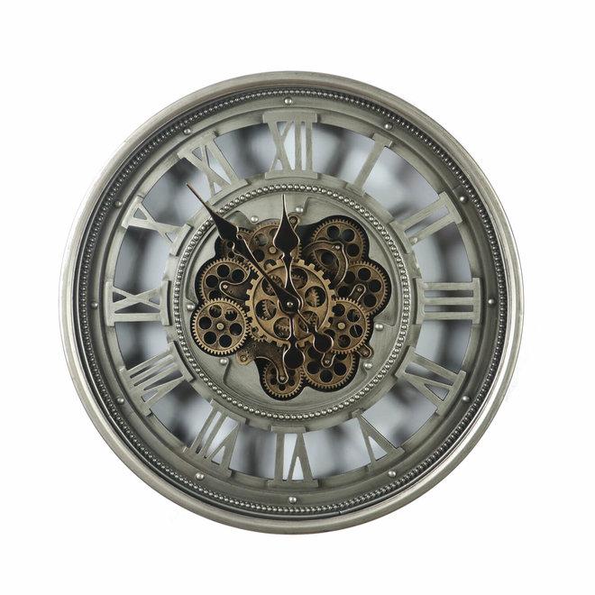 Wandklok Gears open Old Silver 60cm
