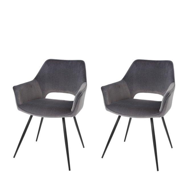 Chaise de salle à manger Eve gris - lot de 2