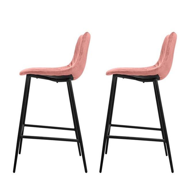 Chaise de bar Lynn rose - lot de 2
