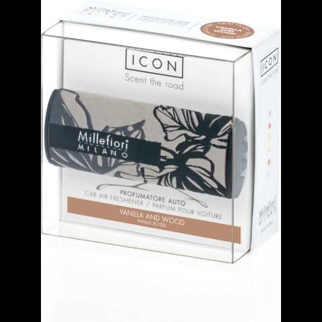 Icon Auto 73 Vanille und Holz - Textil Blumen Auto Parfüm