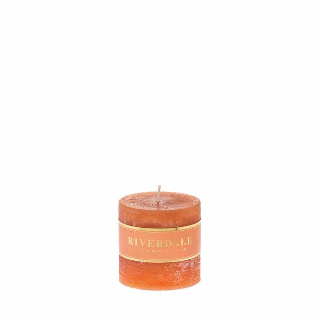 Kaars Pillar burnt orange 7x7cm