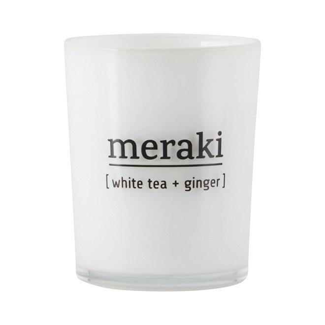 Geurkaars White Tea & Ginger wit