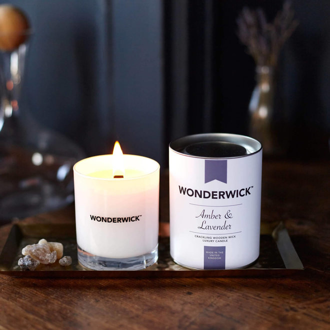 Amber Lavender candle white
