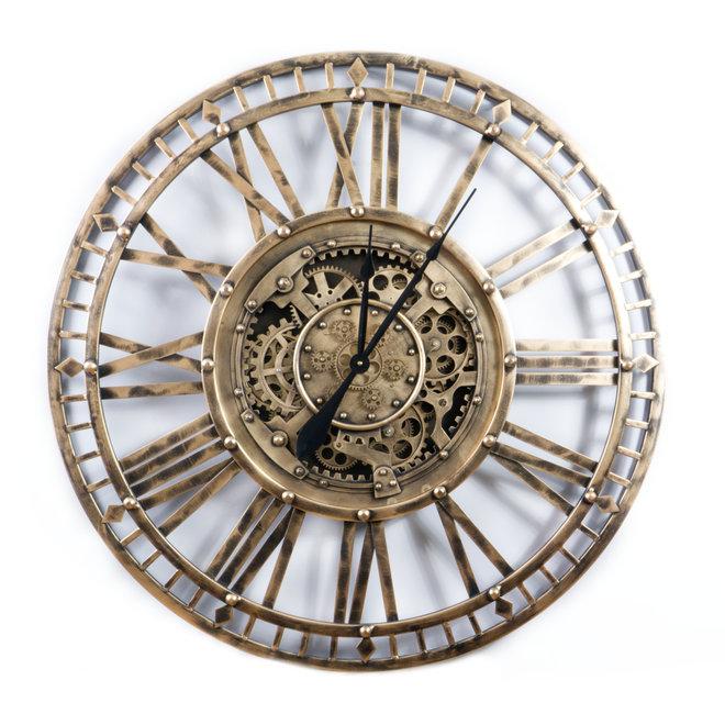 Open wall clock Gears Old Gold 90cm