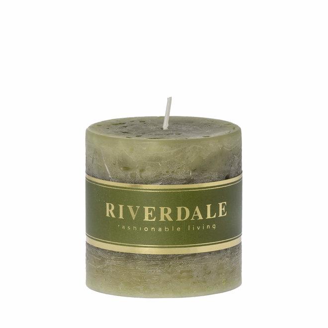 Candle Pillar sage green 7x7cm